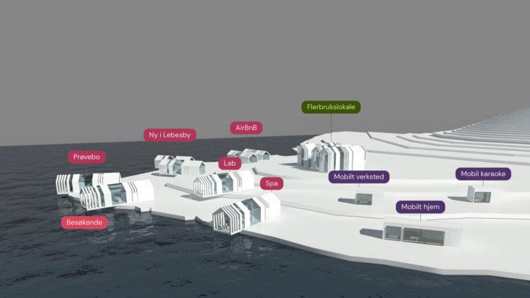 arkitekttegning av modulhus