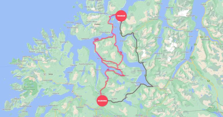 kart som viser kulturveien fra Olsborg til Tromsø